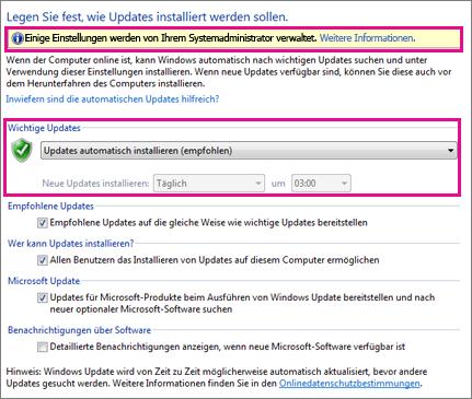 Einstellungen für automatische Updates