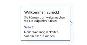 Textmarke 'Willkommen zurück'