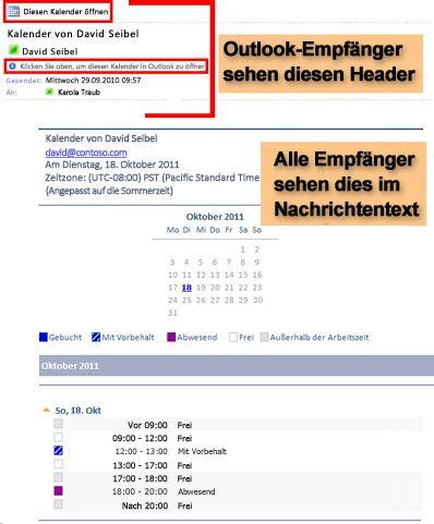 Beispiel für einen empfangenen Kalender, der mit der Funktion 'Kalender per E-Mail senden' gesendet wurde
