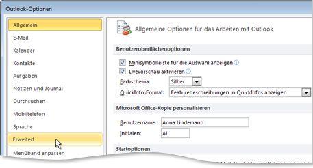 Befehl 'Erweitert' im Dialogfeld 'Outlook-Optionen'