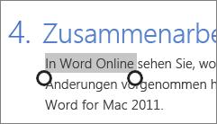Im Fingereingabemodus in Office Online Text markieren