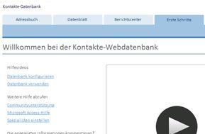 Fenster 'Erste Schritte' der Vorlage 'Kontakte-Datenbank'