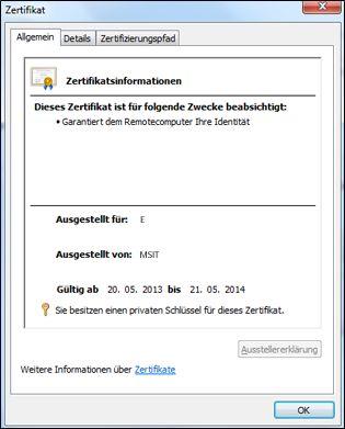 Dialogfeld 'Zertifikat'