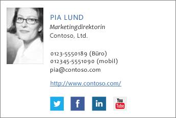 Beispiel für E-Mail-Signatur mit Facebook- und Twitter-Symbolen