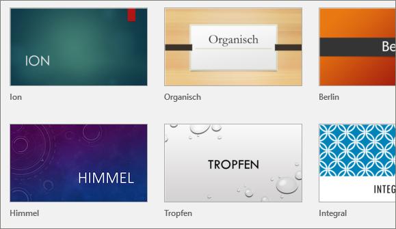 """Abbildung von """"Designs"""" in PowerPoint unter """"Datei > Neu"""""""