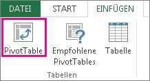 Schaltfläche 'PivotTable' auf der Registerkarte 'Einfügen'