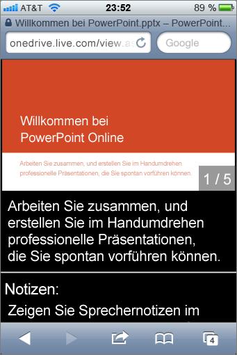 Folien und Sprechernotizen in Mobile Viewer für PowerPoint