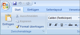 "Hauptmenüband ""Start"" in Word 2007"