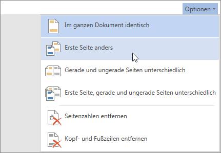 Abbildung des Menüs 'Optionen' für 'Kopf- und Fußzeile' in Word Online