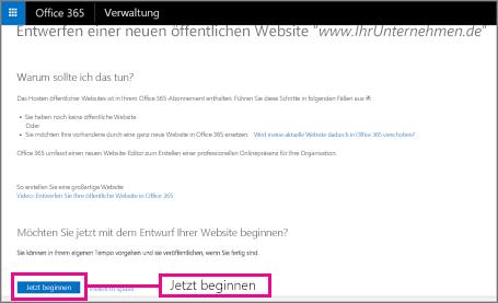 """Wählen Sie auf der Seite """"Neue öffentliche Website entwerfen"""" den Befehl """"Jetzt starten"""" aus"""