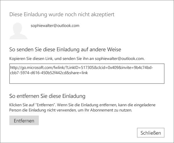 Screenshot des Dialogfelds für eine ausstehende Einladung mit einem Link zum Senden per E-Mail und einer Schaltfläche zum Entfernen der Einladung