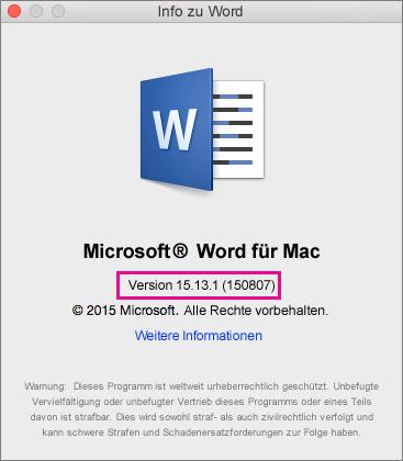 """Word 2016 für Mac mit der Seite """"Info zu Word"""""""