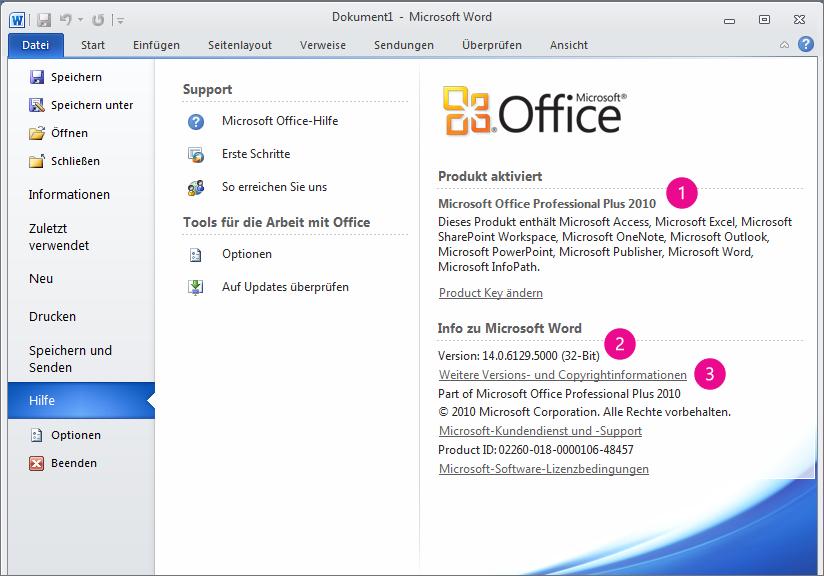 """Produktinformationen nach dem Klicken auf """"Datei"""" > """"Hilfe"""" in Word 2010"""