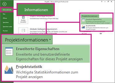 Menü 'Projektinformationen' mit hervorgehobener Option 'Erweiterte Eigenschaften'