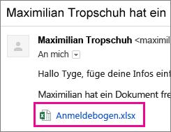 E-Mail, die den Empfänger zum Teilen eines Dokuments auffordert