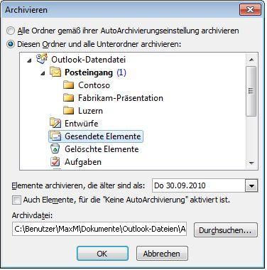 Dialogfeld 'Archivieren'