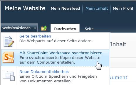 Befehl 'Mit SharePoint Workspace synchronisieren' im Menü 'Websiteaktionen'