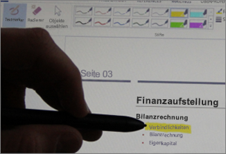 Hervorheben von Text mit einem Eingabestift oder Stift