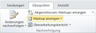 Befehl 'Markup anzeigen'