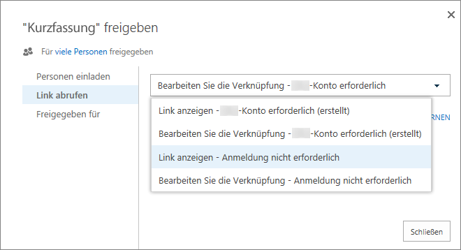 Screenshot: Auswählen eines Links