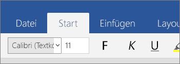 """Registerkarte """"Start"""" in Word Mobile unter Windows 10"""