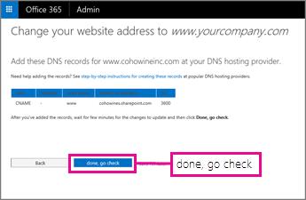 """Fügen Sie diese DNS-Einträge hinzu, und wählen Sie dann """"Fertig, Überprüfung starten"""" aus"""