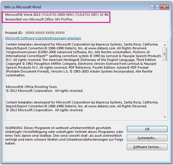 """Fenster """"Info"""" in Microsoft Word"""
