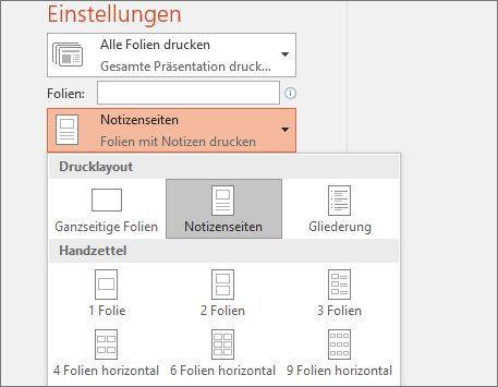 """Screenshot der Option """"Notizen drucken"""""""