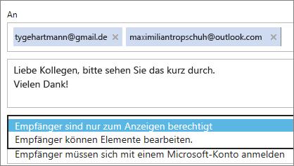 """Auswählen der Optionen """"Nur anzeigen"""" und """"Anmeldung erforderlich"""" in der Einladungs-E-Mail"""