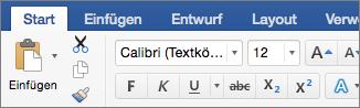 """Registerkarte """"Start"""" in Word 2016 für Mac"""
