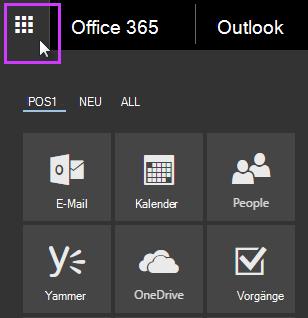 """Office 365-App-Startfeld mit den Kacheln """"Mail"""", """"Kalender"""", """"Personen"""", Yammer und """"OneDrive"""""""