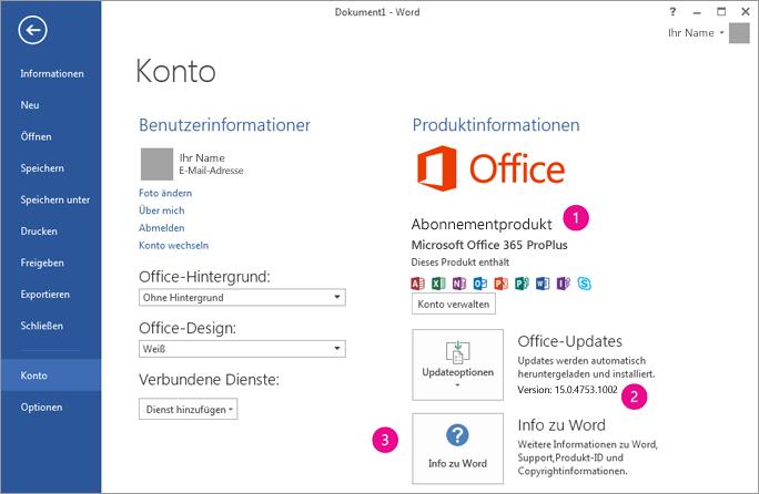 """""""Datei"""" > """"Konto"""" in einem Office 365-Abonnement"""