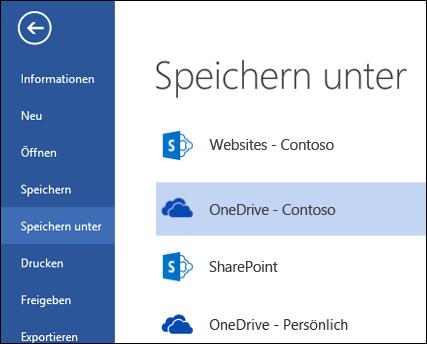 OneDrive for Business-Ordner, während Datei geöffnet oder gespeichert wird