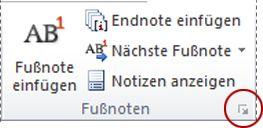 Word 2010: Startprogramm für das Dialogfeld 'Fuß- und Endnote'