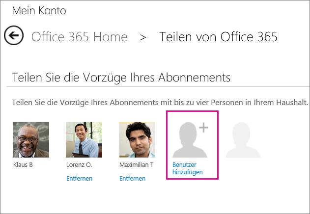 """Screenshot der Seite """"Office 365 teilen"""" mit markierter Option """"Benutzer hinzufügen"""""""