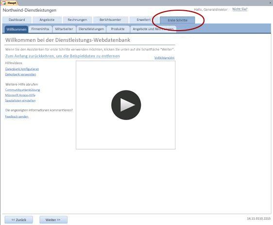 Registerkarte 'Erste Schritte' der Webdatenbankvorlage 'Dienstleistungen'