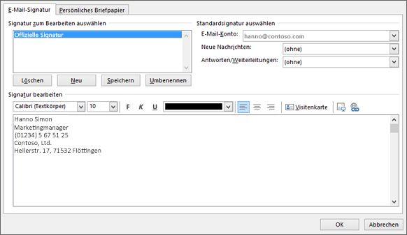 Geben Sie eine neue Signatur ein, die in Ihren E-Mails verwendet werden soll.