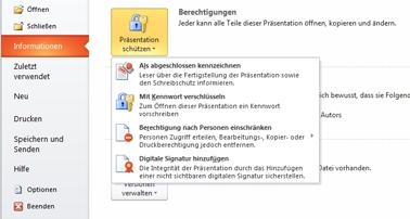 Schaltfläche 'Präsentation schützen' mit Optionen