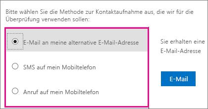 """Screenshot der Optionen für Kontaktmethoden, die für die Überprüfung verwendet werden: """"E-Mail"""", """"SMS"""" oder """"Mein Mobiltelefon anrufen"""""""