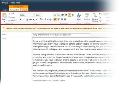 Rich text editor for blogging