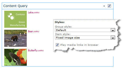 Content Query Web Part configured with fixed image size