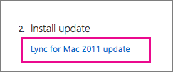 Choose to Install the Lync update, which will take you to the a Microsoft download page.