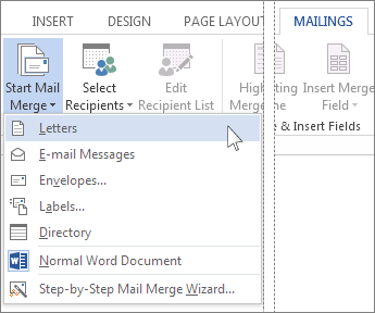 Letters option on the Start Mail Merge menu