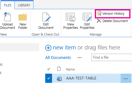 Pages > File > Version History