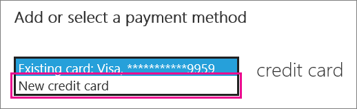 "Screenshot showing the drop down menu under ""Add or select a payment method"""