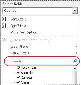 Search box in filter list