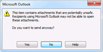 Potentially unsafe attachments are included dialog box