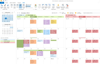 Example of calendars in Side-By-Side and Overlay modes