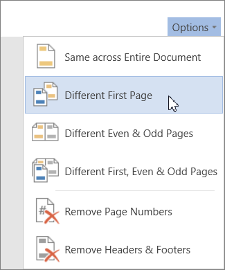 Different First Page header and footer option