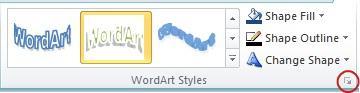 WordArt Styles Dialog Box Launcher